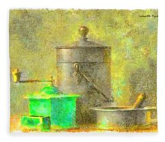 Coffee Mill Watercolor - Da Fleece Blanket