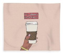 Fleece Blanket featuring the digital art Coffee Time by Cortney Herron