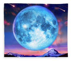 Cold Mountain Moon Fleece Blanket