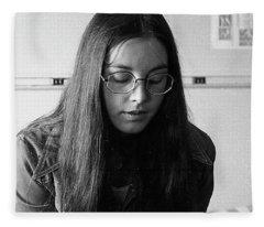 College Student With Octagonal Eyeglasses, 1972 Fleece Blanket