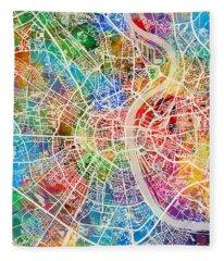 Cologne Germany City Map Fleece Blanket