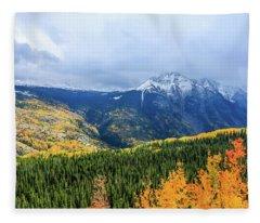 Colorado Aspens And Mountains 3 Fleece Blanket