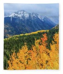 Colorado Aspens And Mountains 4 Fleece Blanket