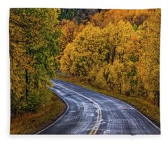 Colorado Fall Country Road Fleece Blanket
