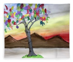 Colored Tree Fleece Blanket