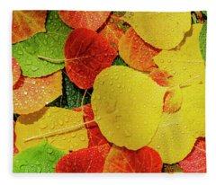 Colorful Aspen Tree Leaves On Ground In Morning Sunlight Fleece Blanket