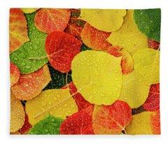 Colorful Aspen Tree Leaves With Water Drops Fleece Blanket