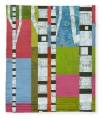 Colorful Birches Fleece Blanket