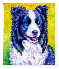 Colorful Border Collie Dog Fleece Blanket