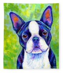 Colorful Boston Terrier Dog Fleece Blanket