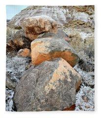 Colorful Boulders Beneath Bentonite Dunes Fleece Blanket