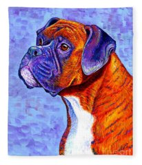 Colorful Brindle Boxer Dog Fleece Blanket