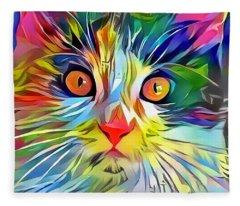 Colorful Calico Cat Fleece Blanket