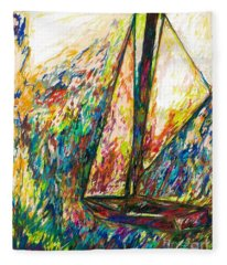 Colorful Day On The Water Fleece Blanket