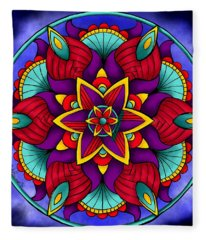 Colorful Flower Mandala Fleece Blanket