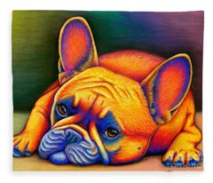 French Bulldog Drawings Fleece Blankets
