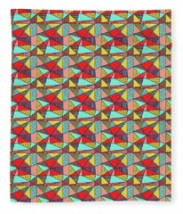 Colorful Geometric Abstract Pattern Fleece Blanket