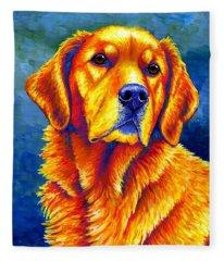 Colorful Golden Retriever Dog Fleece Blanket