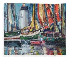 Colorful Harbor Fleece Blanket