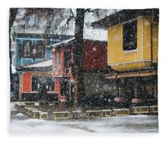 Colorful Koprivshtica Houses In Winter Fleece Blanket