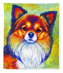 Colorful Long Haired Chihuahua Dog Fleece Blanket