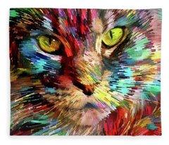 Colorful Maine Coon Cat Fleece Blanket
