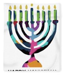 Colorful Modern Menorah- Art By Linda Woods Fleece Blanket