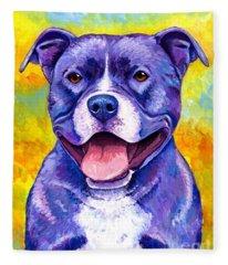 Colorful Pitbull Terrier Dog Fleece Blanket