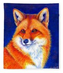 Colorful Red Fox Fleece Blanket