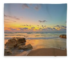 Colorful Seascape Fleece Blanket