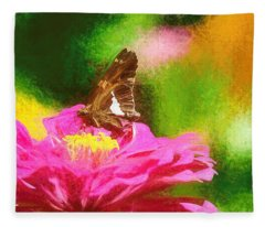 Colorful Silver Spotted Skipper Butterfly Fleece Blanket
