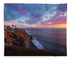 Colorful Sky After Sunset At Point Vicente Lighthouse Fleece Blanket