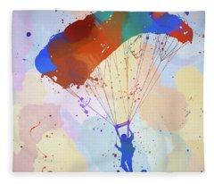 Colorful Skydiver Fleece Blanket