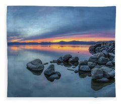 Colorful Sunset At Sand Harbor Panorama Fleece Blanket