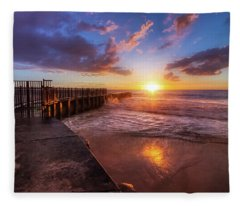 Colorful Sunset At Toes Beach Fleece Blanket