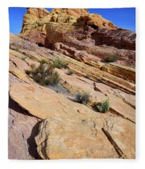 Colorful Tilted Sandstone In Valley Of Fire Fleece Blanket