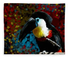 Colorful Toucan Fleece Blanket