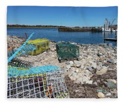 Colorful Traps By The Cape Cod Canal Fleece Blanket