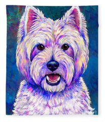 Colorful West Highland White Terrier Blue Background Fleece Blanket