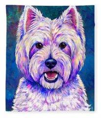 Colorful West Highland White Terrier Blue Background Fleece Blanket