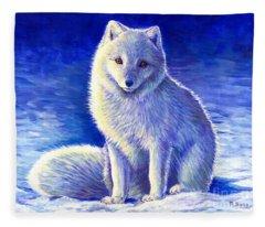 Colorful Winter Arctic Fox Fleece Blanket