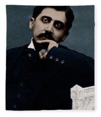 Colorized Portrait Of Proust Fleece Blanket