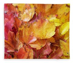 Colors Of Fall - Red To Yellow Fleece Blanket