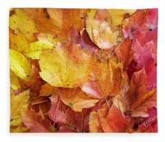 Colors Of Fall - Yellow To Red Fleece Blanket
