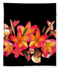 Coloured Frangipani Black Bkgd Fleece Blanket