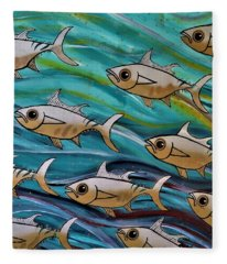 Coloured Water Fish Fleece Blanket