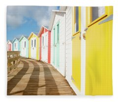 Colourful Bude Beach Huts Fleece Blanket