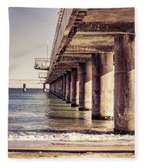 Columns Of Pier In Burgas Fleece Blanket