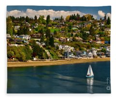 Commencement Bay,washington State Fleece Blanket