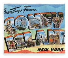 Coney Island Greetings - Version 2 Fleece Blanket